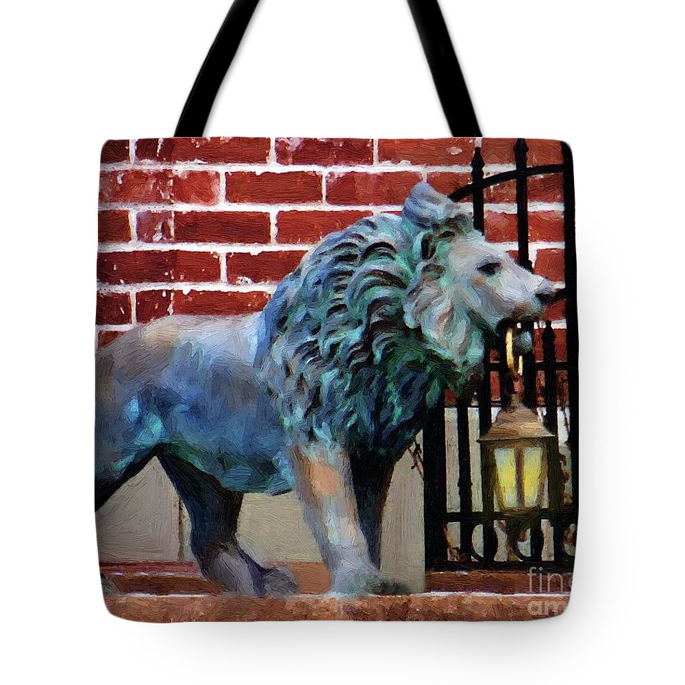 Lion Tote Bag featuring the painting Lightbearer by RC DeWinter