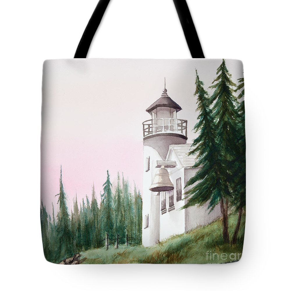 Lighthouse Tote Bag featuring the painting Lighthouse At Sunrise by Michelle Constantine