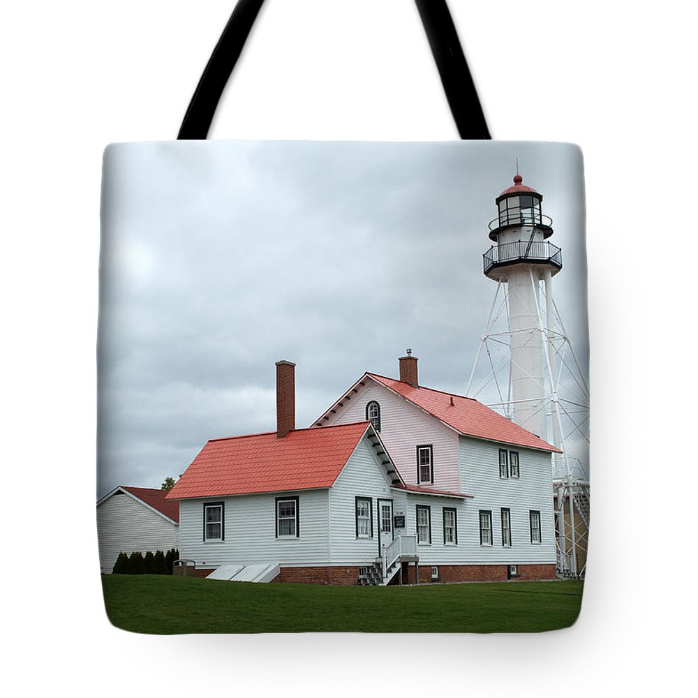 Whitefish Point Tote Bag featuring the photograph Lighthouse At Whitefish by Linda Kerkau