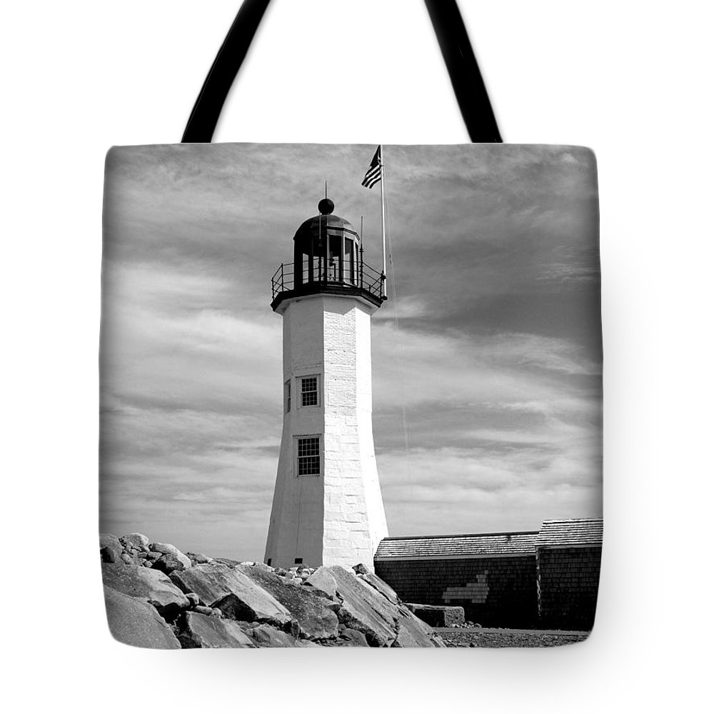 Lighthouse Tote Bag featuring the photograph Lighthouse Black And White by Barbara McDevitt
