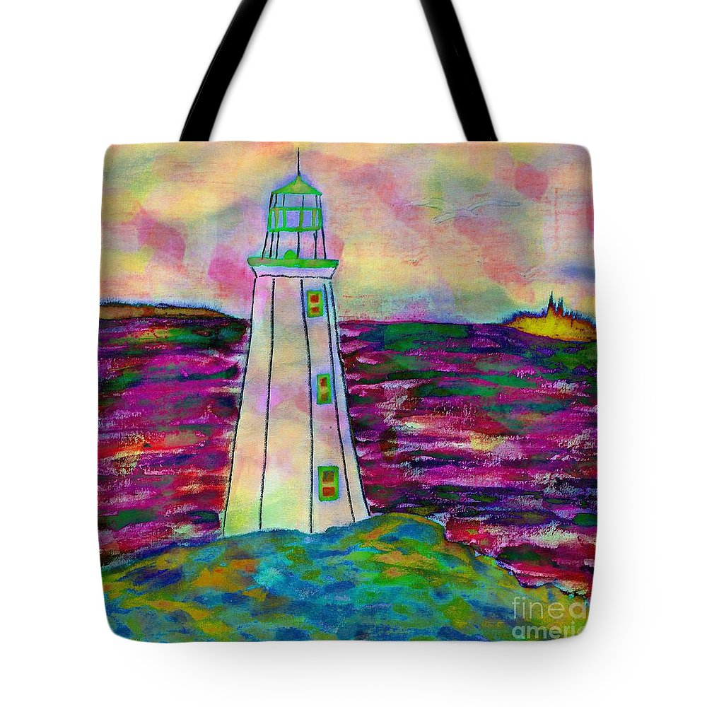 Lighthouse Digital Color Tote Bag featuring the drawing Lighthouse Digital Color by Barbara Griffin