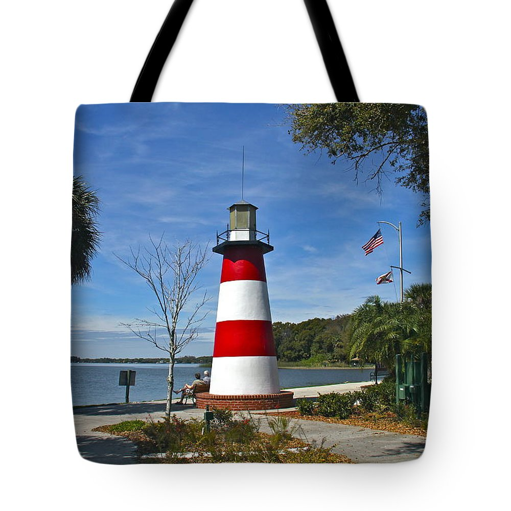 Lighthouse Tote Bag featuring the photograph Lighthouse In Mount Dora by Denise Mazzocco
