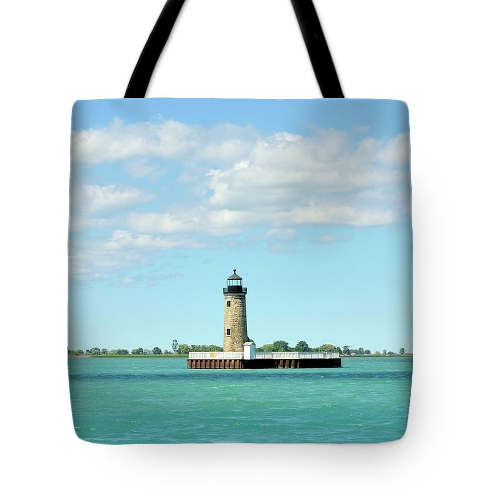 Scenics Tote Bag featuring the photograph Lighthouse Lake St. Clair by Rivernorthphotography