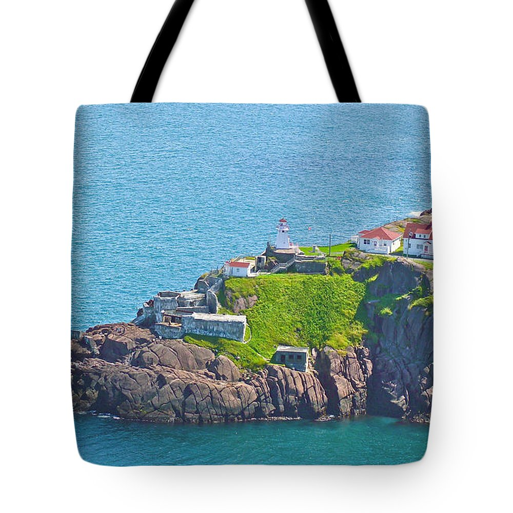 Lighthouse On Point In Signal Hill National Historic Site In Saint John's Tote Bag featuring the photograph Lighthouse On Point In Signal Hill National Historic Site In Saint John's-nl by Ruth Hager