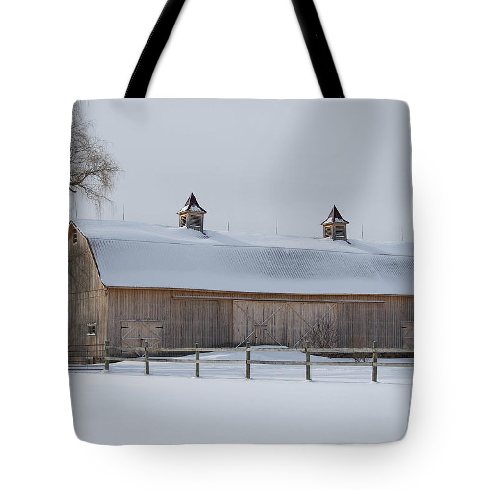 Barn Tote Bag featuring the photograph Lightly Browned Barn 7k00040b by Guy Whiteley