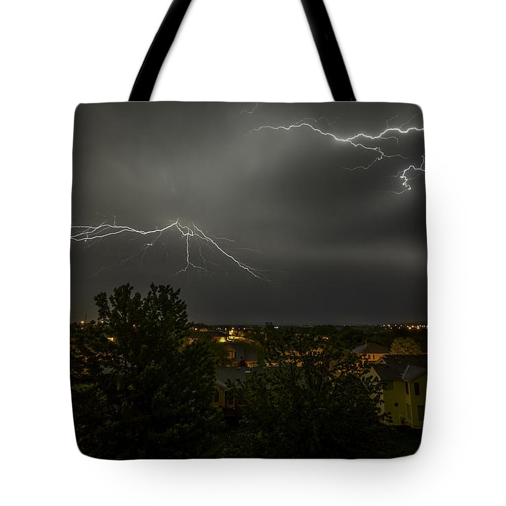 Lightning Tote Bag featuring the photograph Lightning Crashes by Gary Mosman