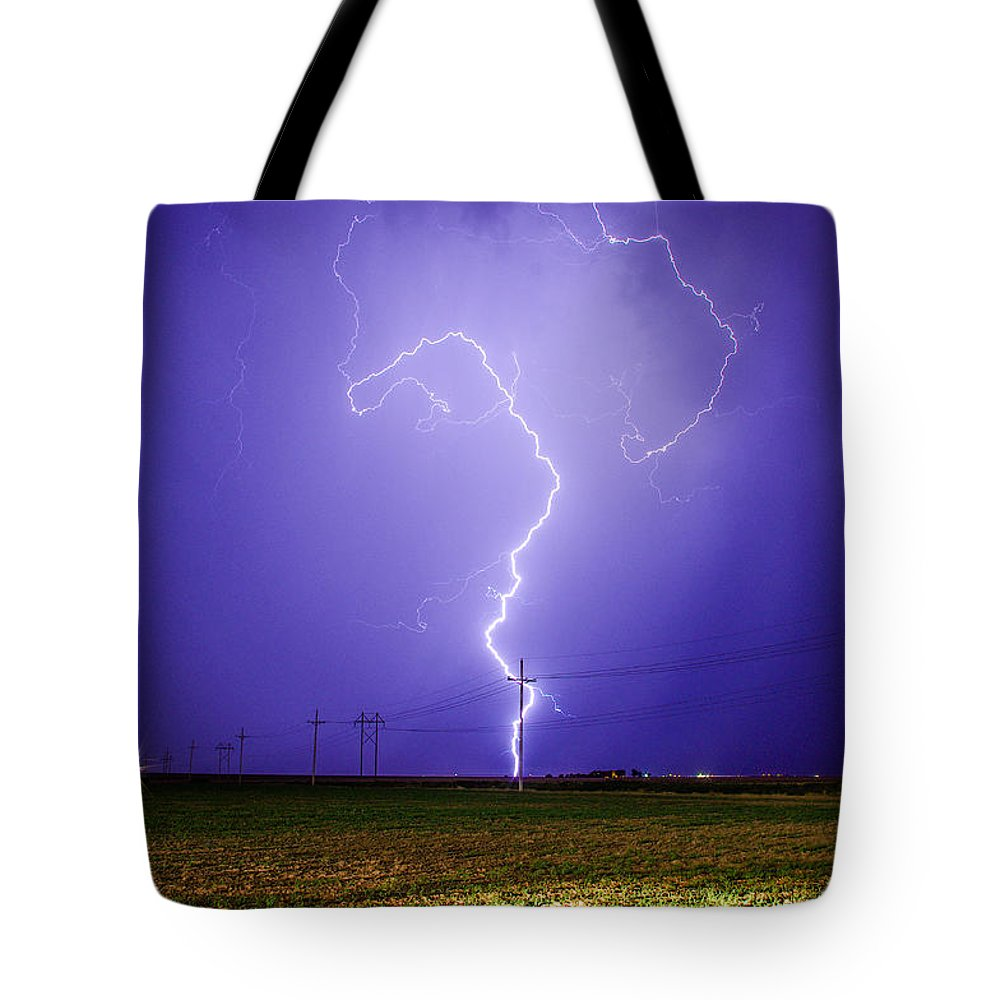 Lightning Tote Bag featuring the photograph Lightning Strike by Brandon Green