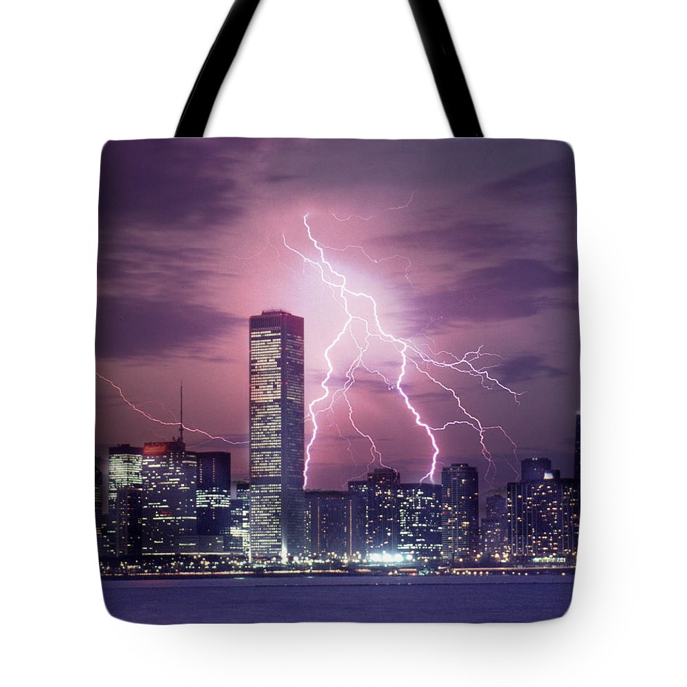 Scenics Tote Bag featuring the photograph Lightning Striking Chicago Skyline by Lyle Leduc