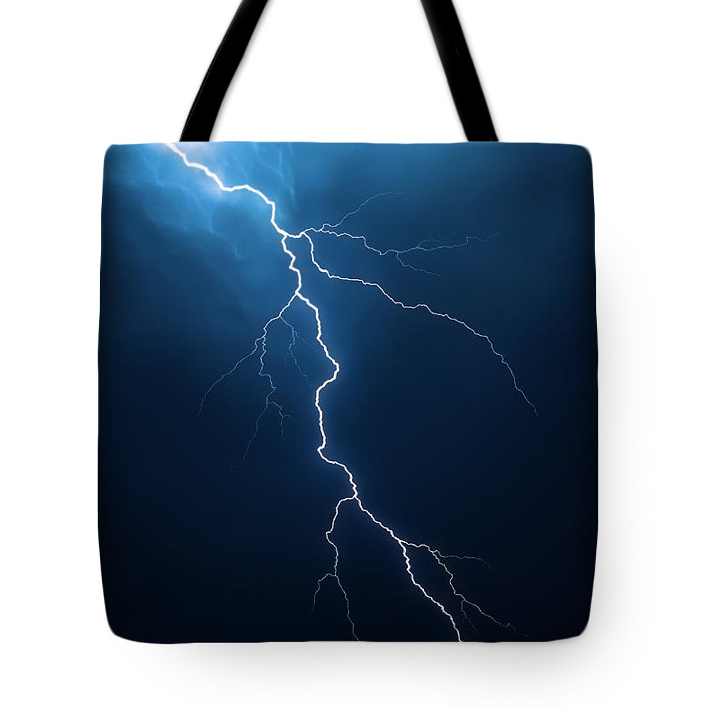 Lightning Tote Bag featuring the photograph Lightning With Cloudscape by Johan Swanepoel