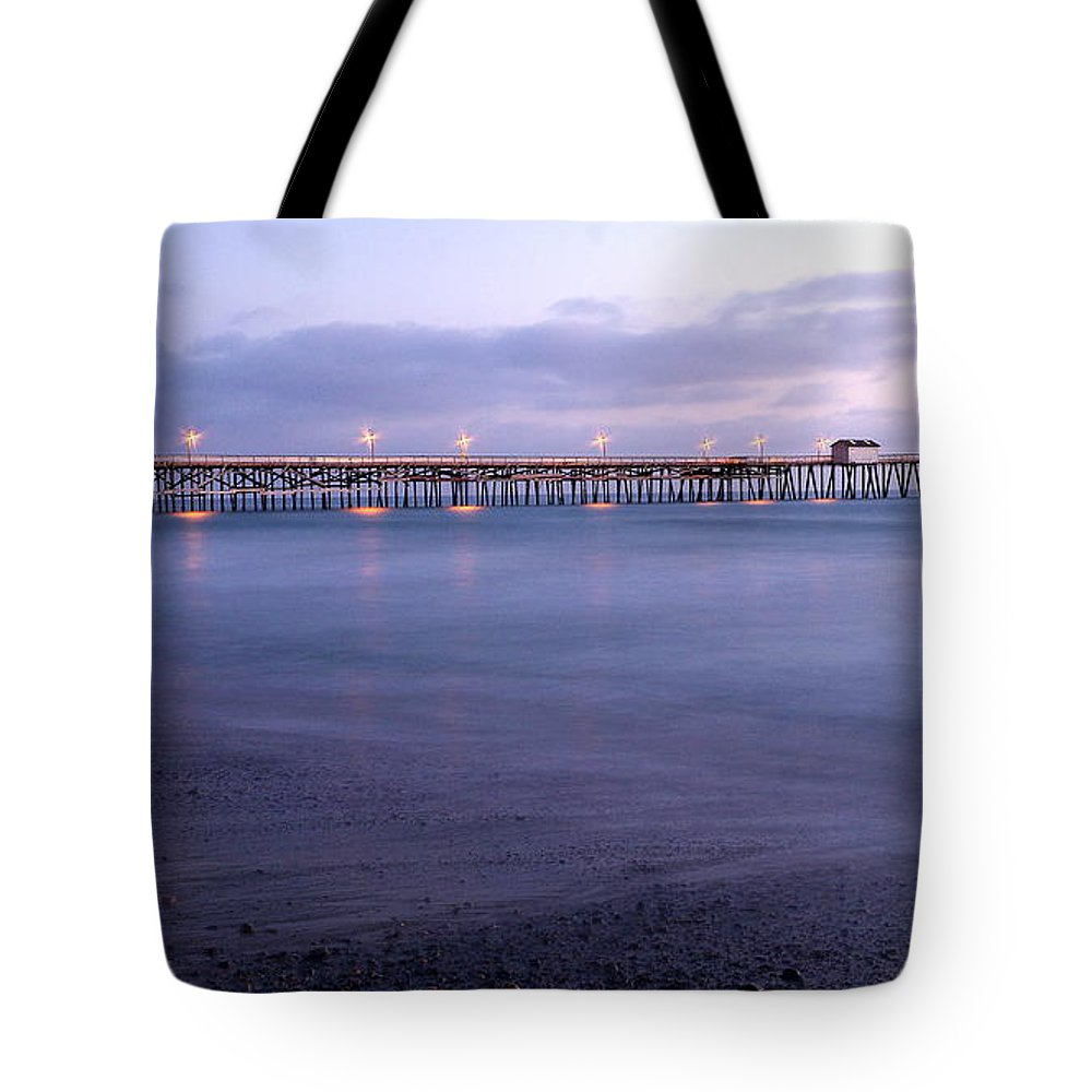 Lights On The Pier Tote Bag featuring the photograph Lights On The Pier by Richard Cheski
