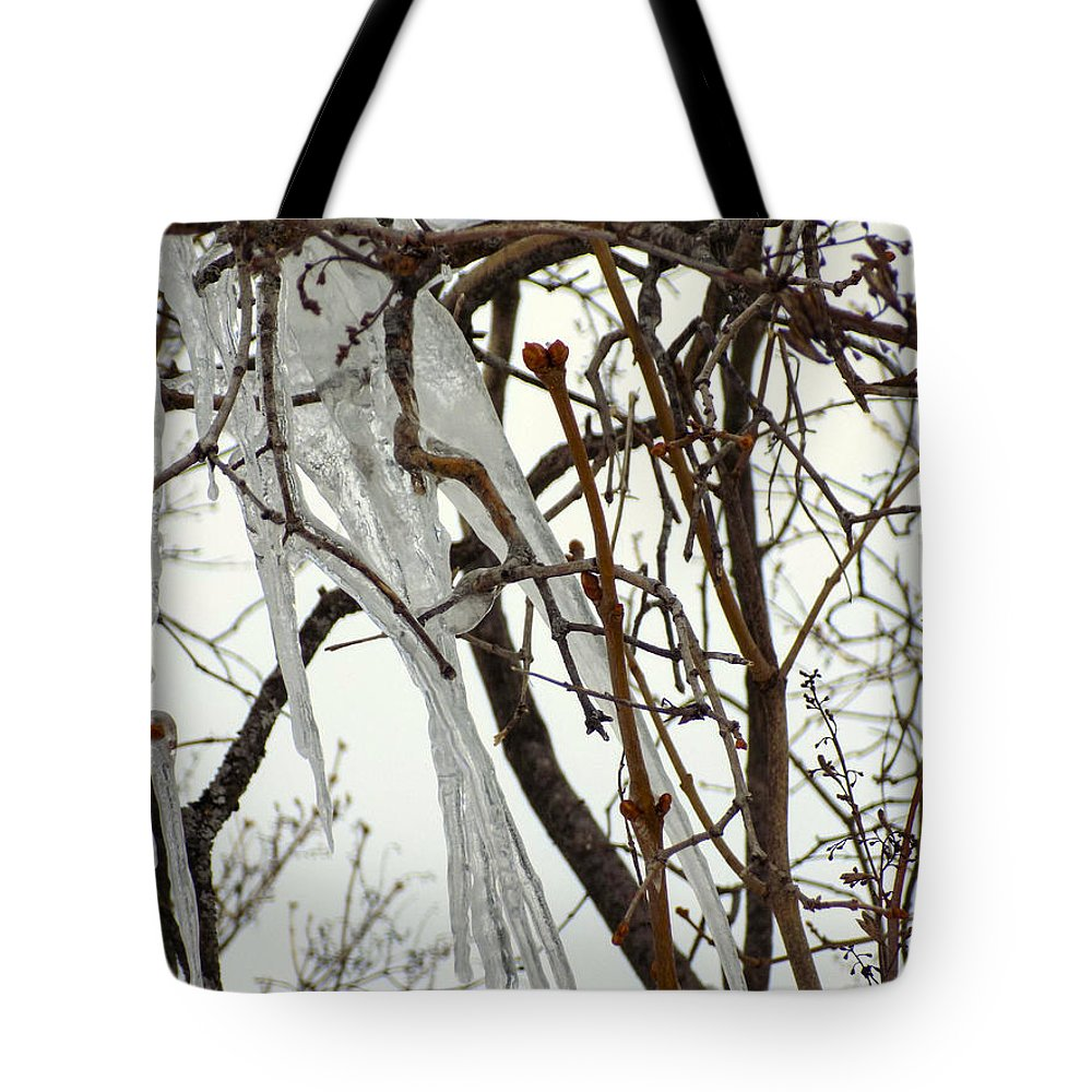 Icicles Tote Bag featuring the photograph Lilac And Ice by William Tasker