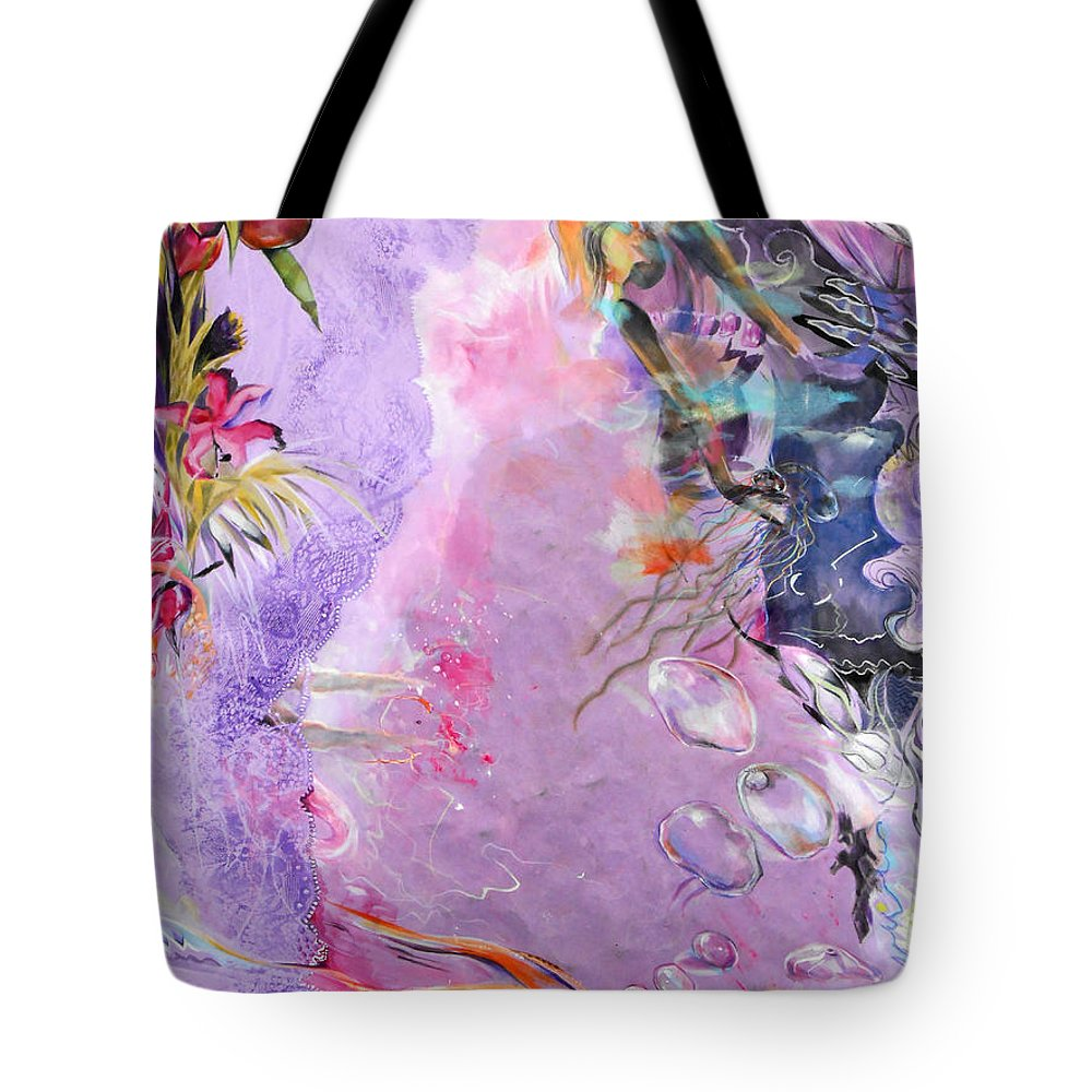 Lilac Goldfish Tote Bag featuring the painting Lilac Goldfish by Lucia Hoogervorst