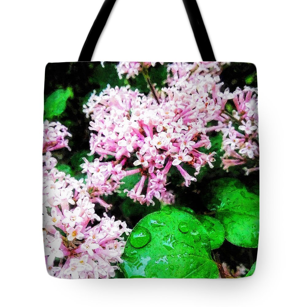 Lilacs Tote Bag featuring the painting Lilacs After The Rain by Sandy MacGowan