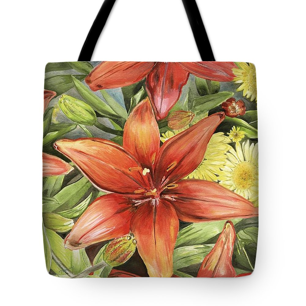 Lilies Tote Bag featuring the painting Lilies And Daisies by Pamela Ramey Tatum