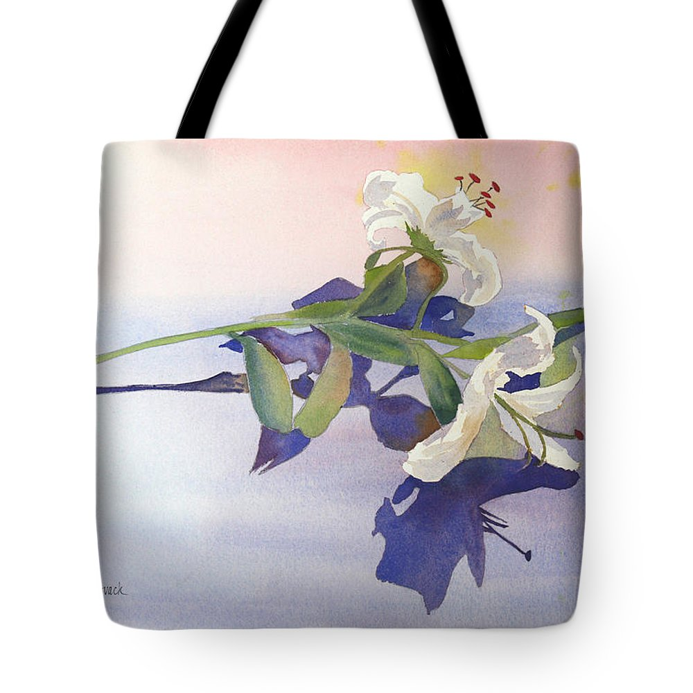 Lily Tote Bag featuring the painting Lilies At Rest by Patricia Novack