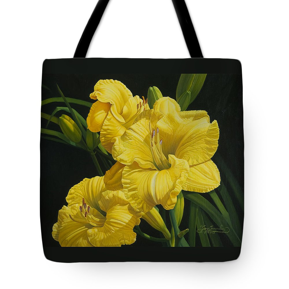 Floral Tote Bag featuring the painting Lilies for Olivia Rose by Gary Hernandez