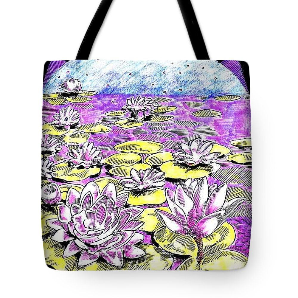 Lilies Of The Lake Tote Bag featuring the drawing Lilies Of The Lake by Seth Weaver