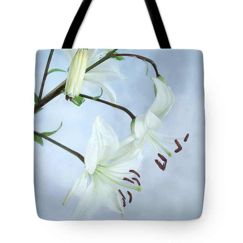 Lily Tote Bag featuring the photograph Lilies On Blue by Louise Kumpf