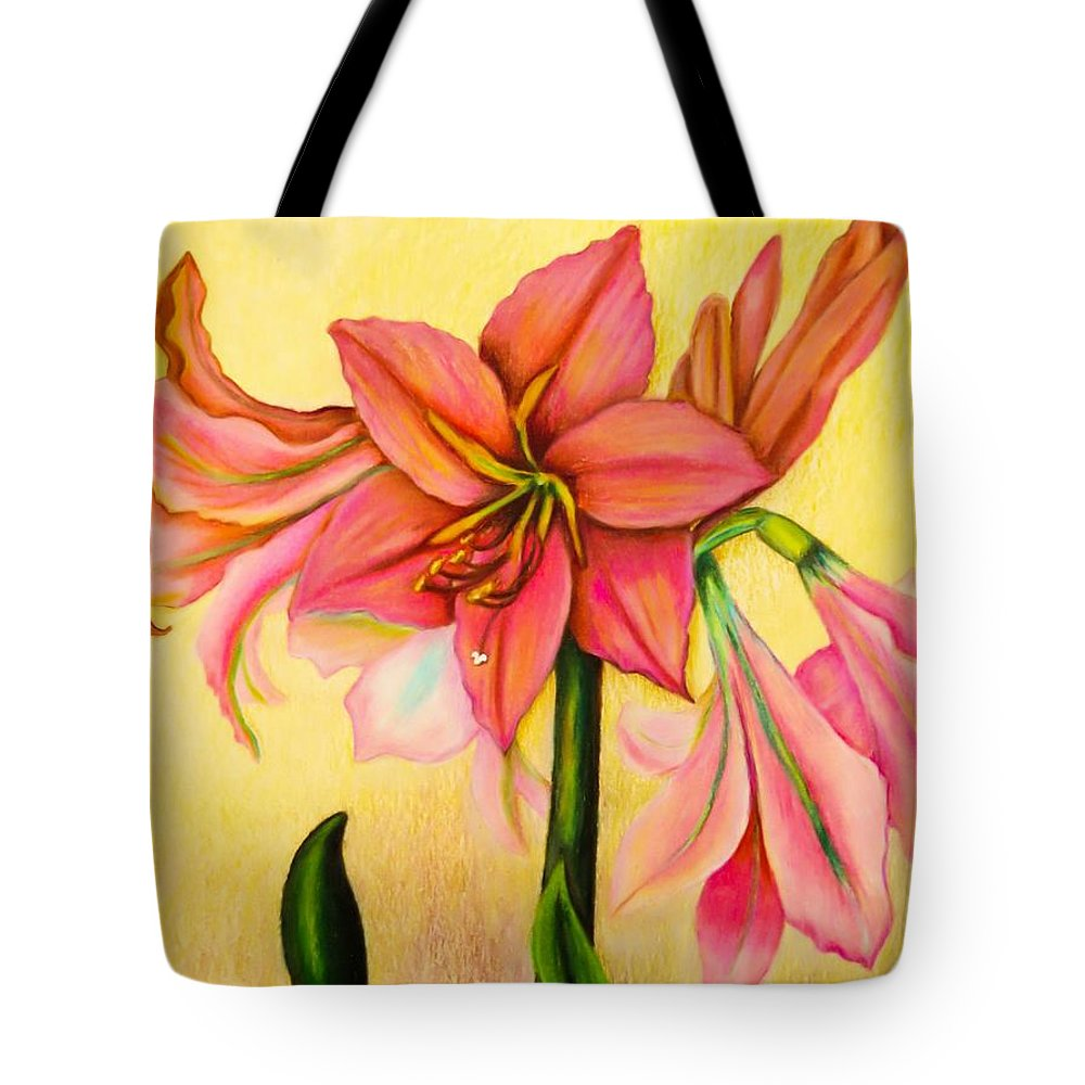 Amaryllis Tote Bag featuring the drawing Lilies by Zina Stromberg