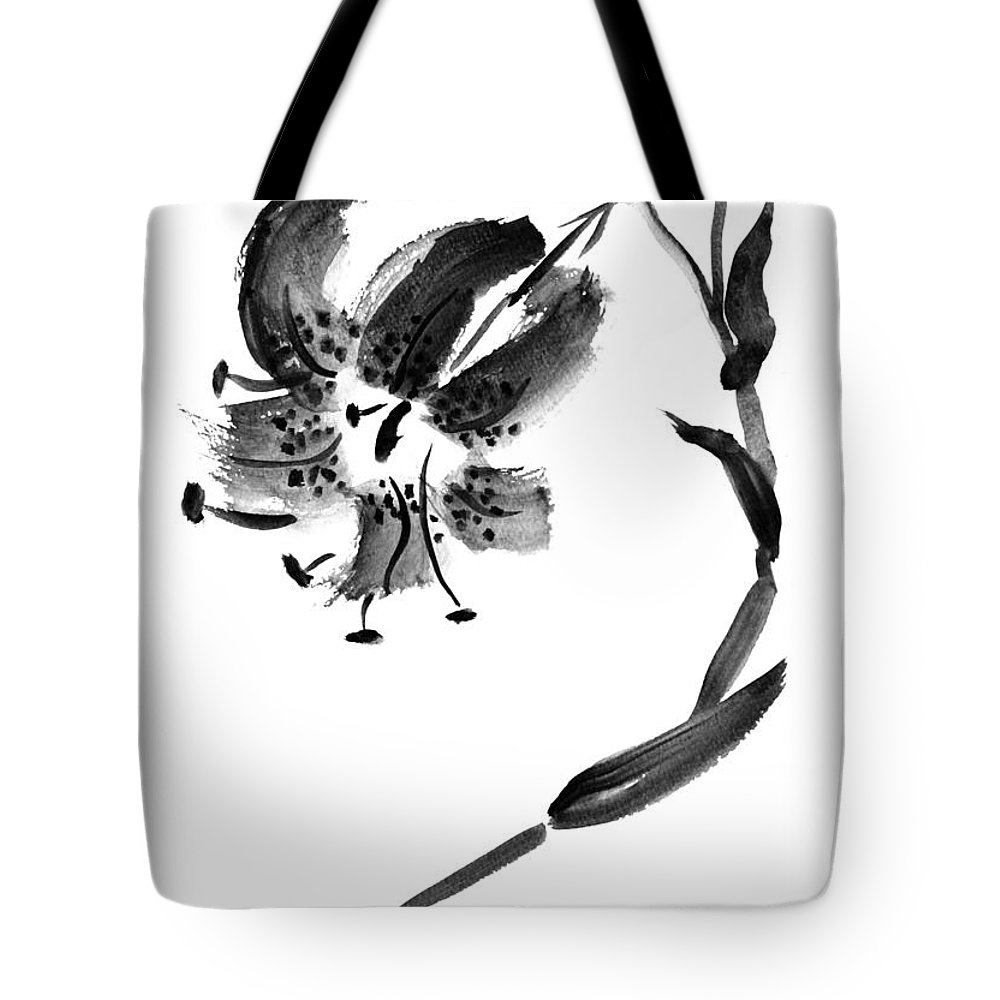Lily Tote Bag featuring the painting Lily In Black by Patricia Novack