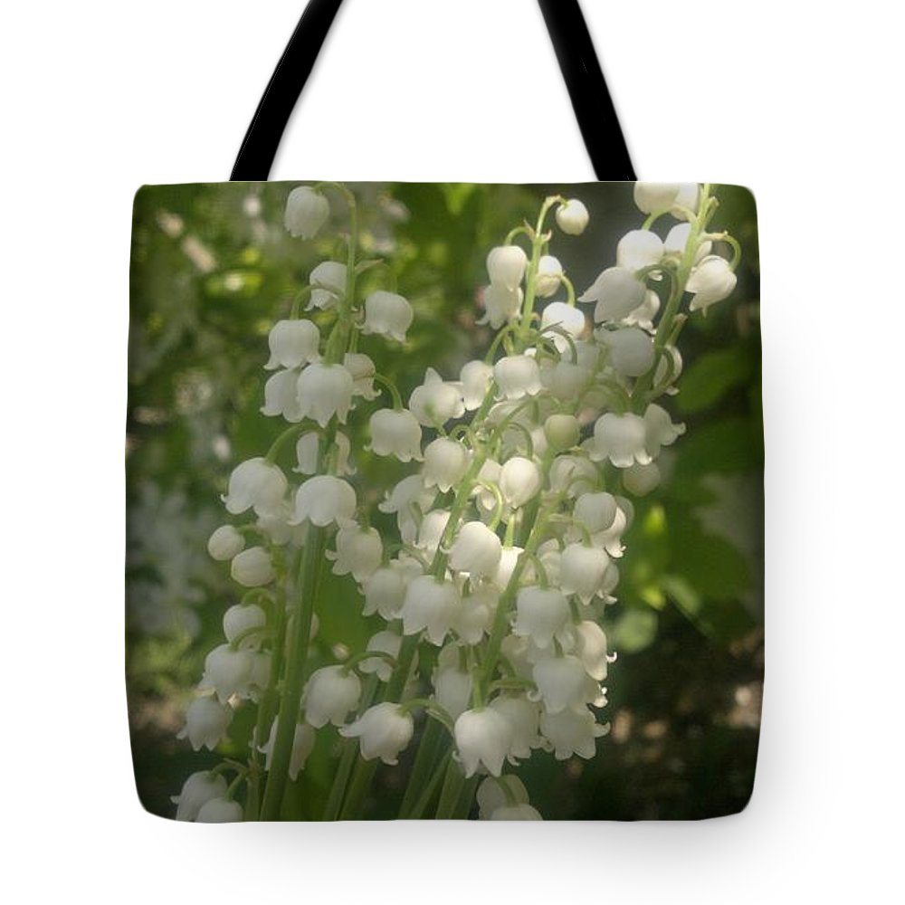 Lily Of The Valley Tote Bag featuring the photograph White Lily Of The Valley Bouquet by Stefan Silvestru