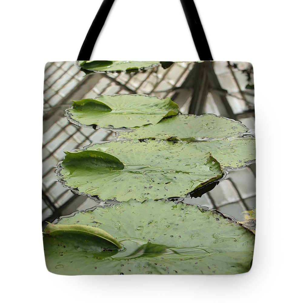 Lily Pads Tote Bag featuring the photograph Lily Pads With Reflection Of Conservatory Roof by Carol Groenen