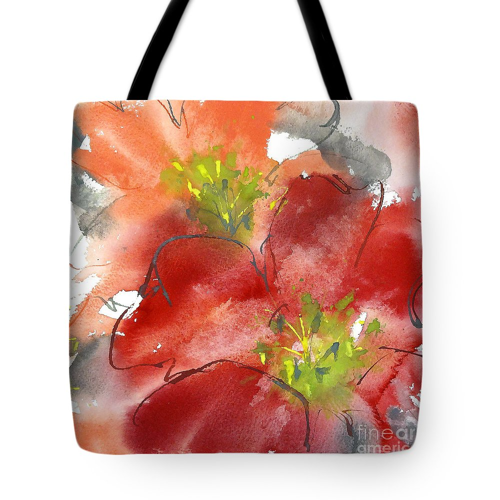Original And Printed Watercolors Tote Bag featuring the painting Lily Wisps II by Chris Paschke