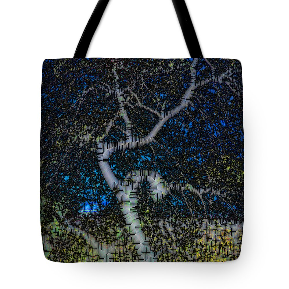Abstract Tote Bag featuring the digital art Limned Desert Tree by Jack Bowman