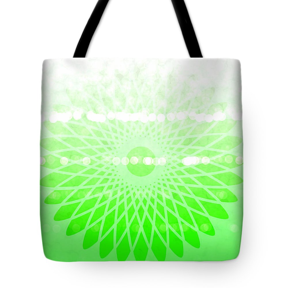Lime Green Spirograph Tote Bag featuring the digital art Lime Green Spirograph by Chastity Hoff