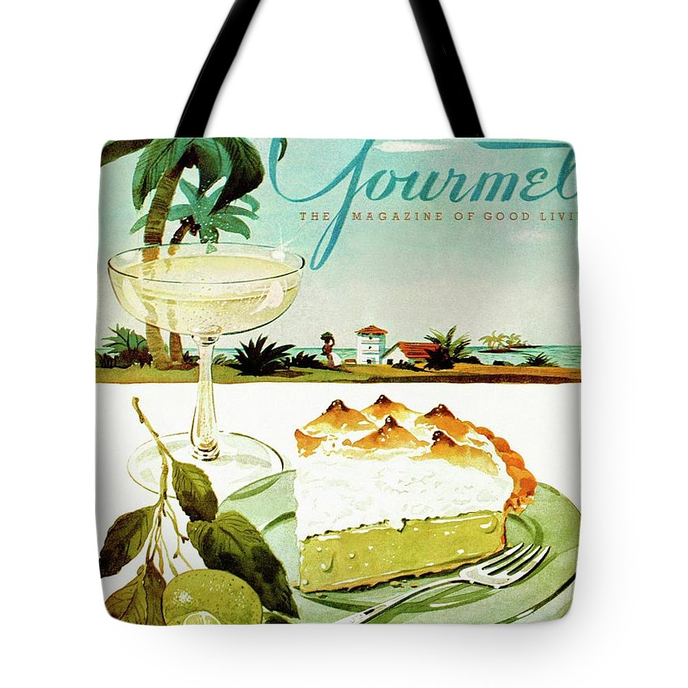 Food Tote Bag featuring the photograph Lime Meringue Pie With Champagne by Henry Stahlhut
