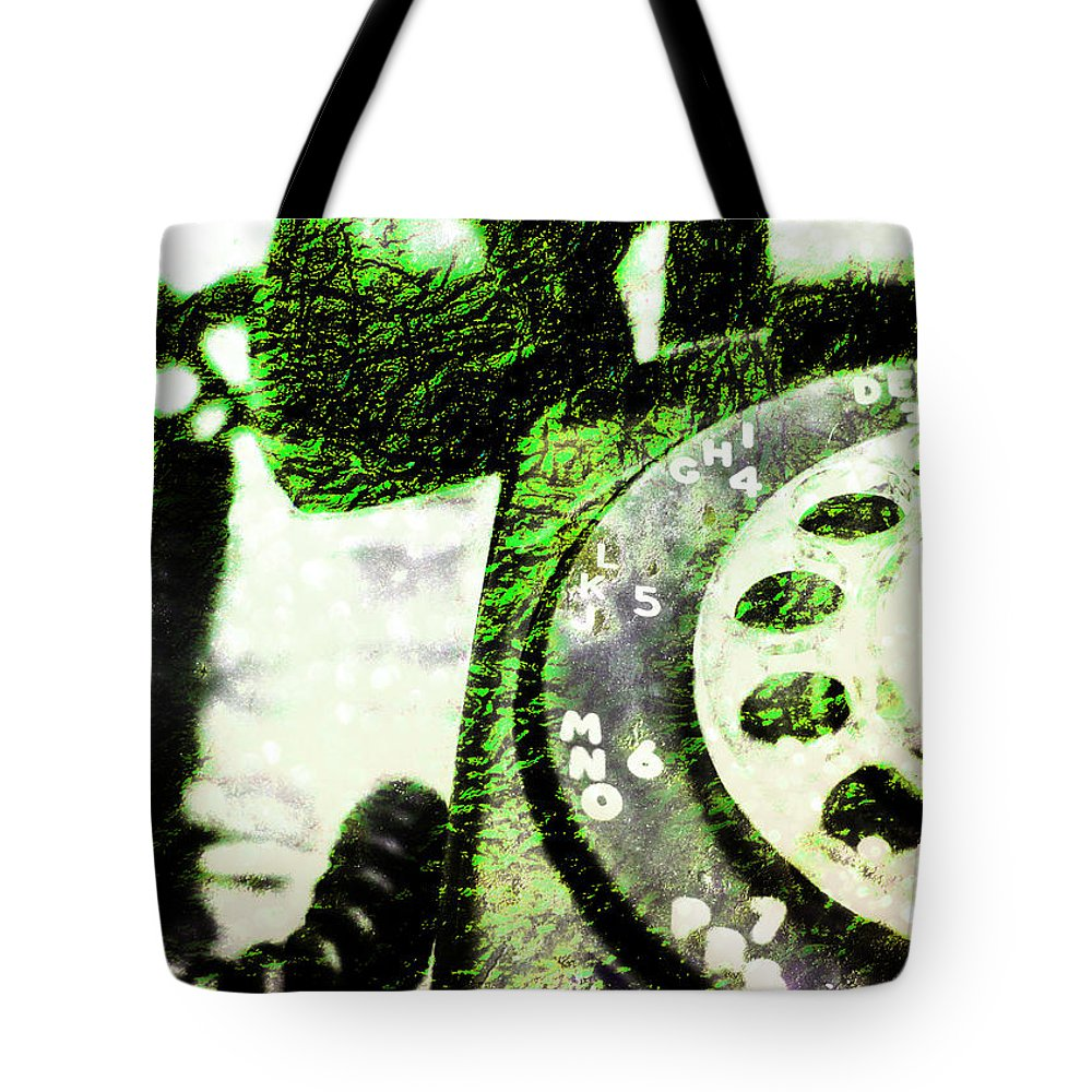 Rotary Tote Bag featuring the photograph Lime Rotary Phone by Jon Woodhams