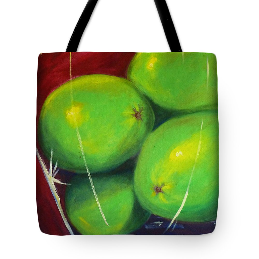 Fruit Still Life Painting Tote Bag featuring the painting Limes In A Vase by Nancy Merkle