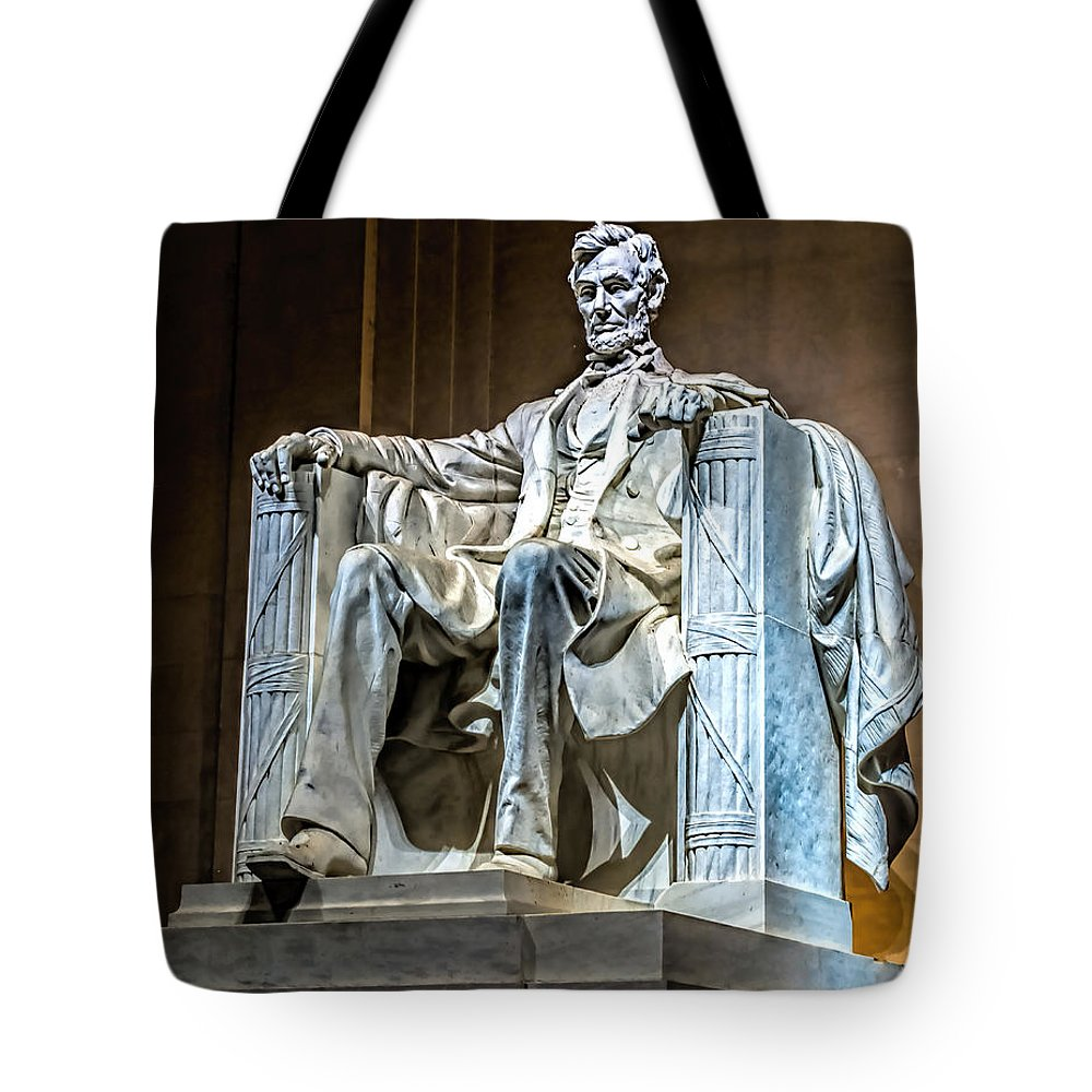 Abraham Tote Bag featuring the photograph Lincoln In Memorial by Nick Zelinsky