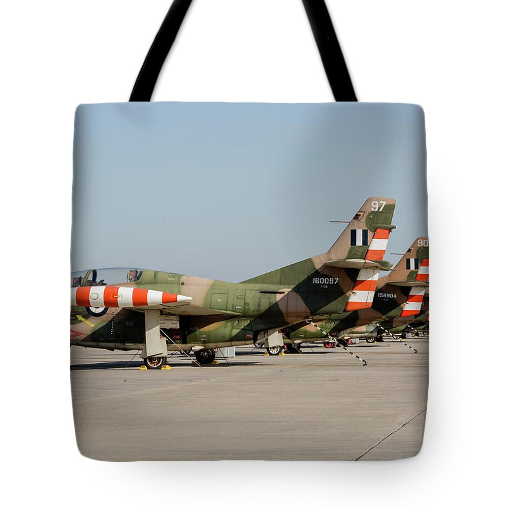 Greece Tote Bag featuring the photograph Line-up Of Hellenic Air Force T-2 by Timm Ziegenthaler