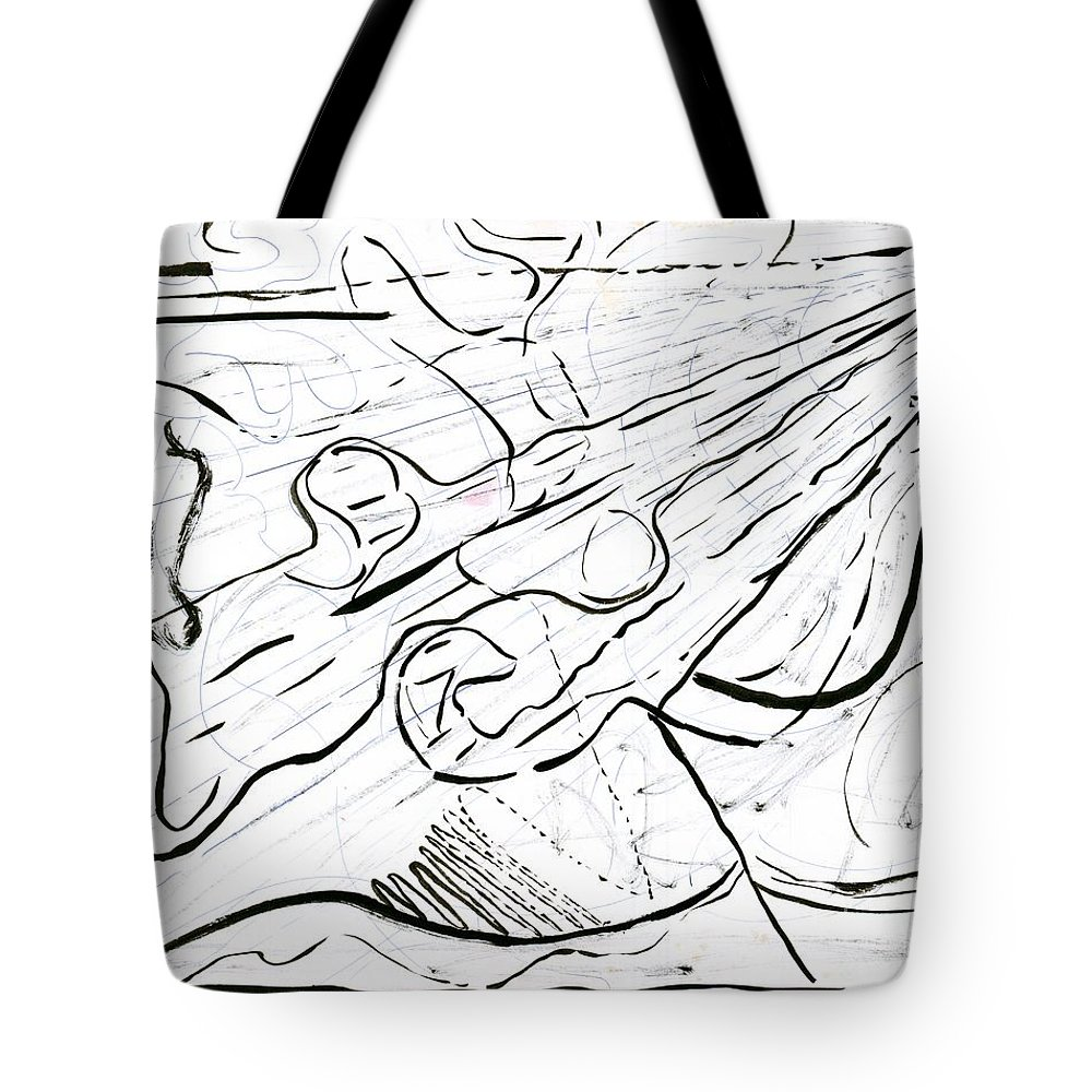 Abstract Tote Bag featuring the painting Linear Expression by Myrtle Joy