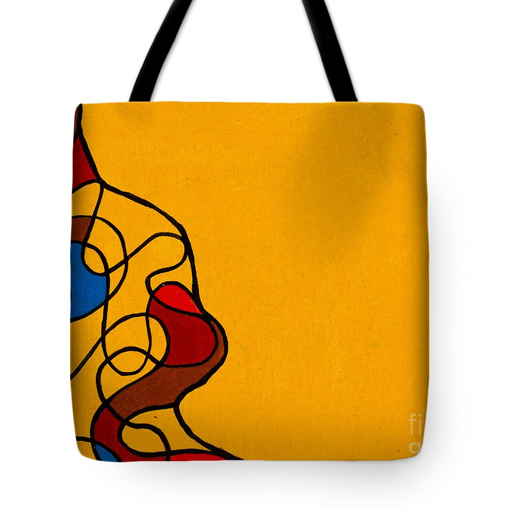 Yellow Tote Bag featuring the painting Linework Yellow by Stefanie Forck