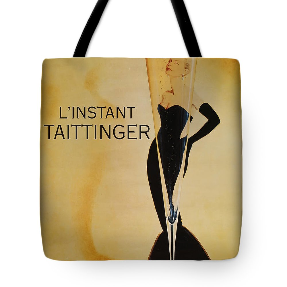 L'instant Taittanger Tote Bag featuring the digital art L'Instant Taittinger by Georgia Fowler