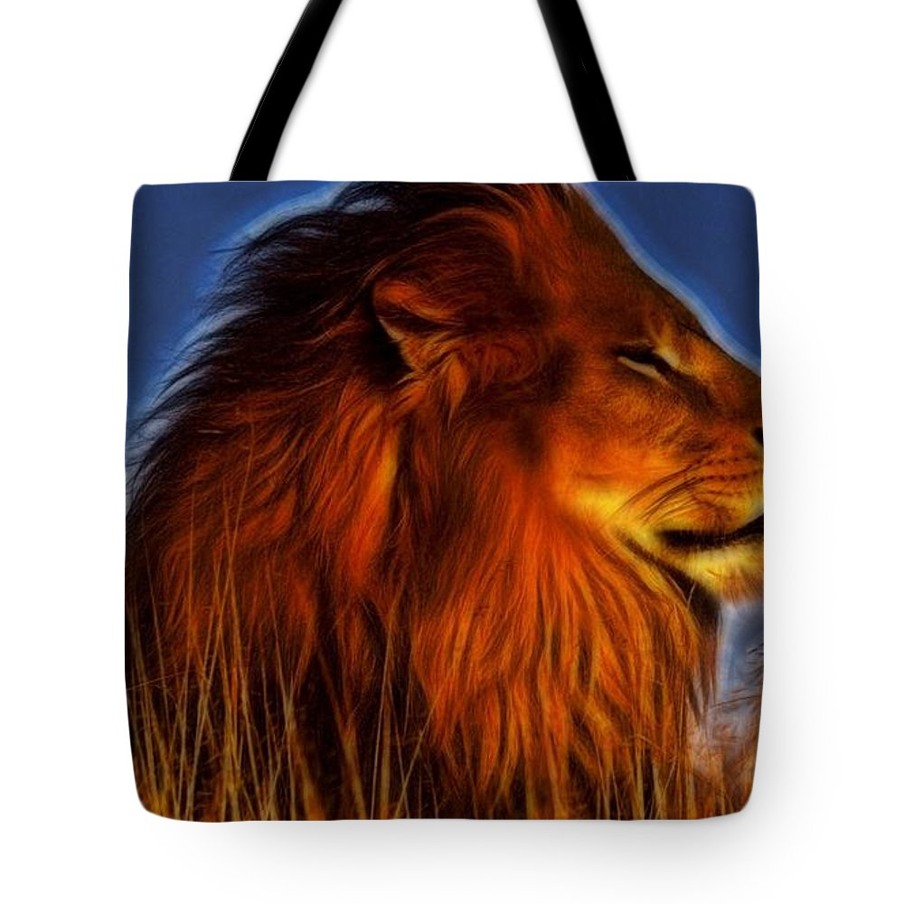 Lion Tote Bag featuring the digital art Lion - King Of Animals by Lilia D