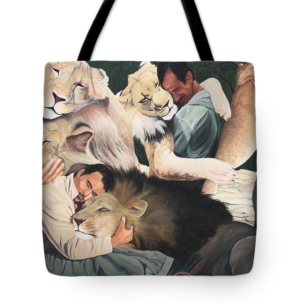 Lion Hug Tote Bag featuring the painting Lion Hugs by Cory Calantropio
