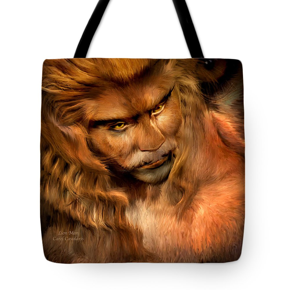 Lion Art Tote Bag featuring the mixed media Lion Man by Carol Cavalaris