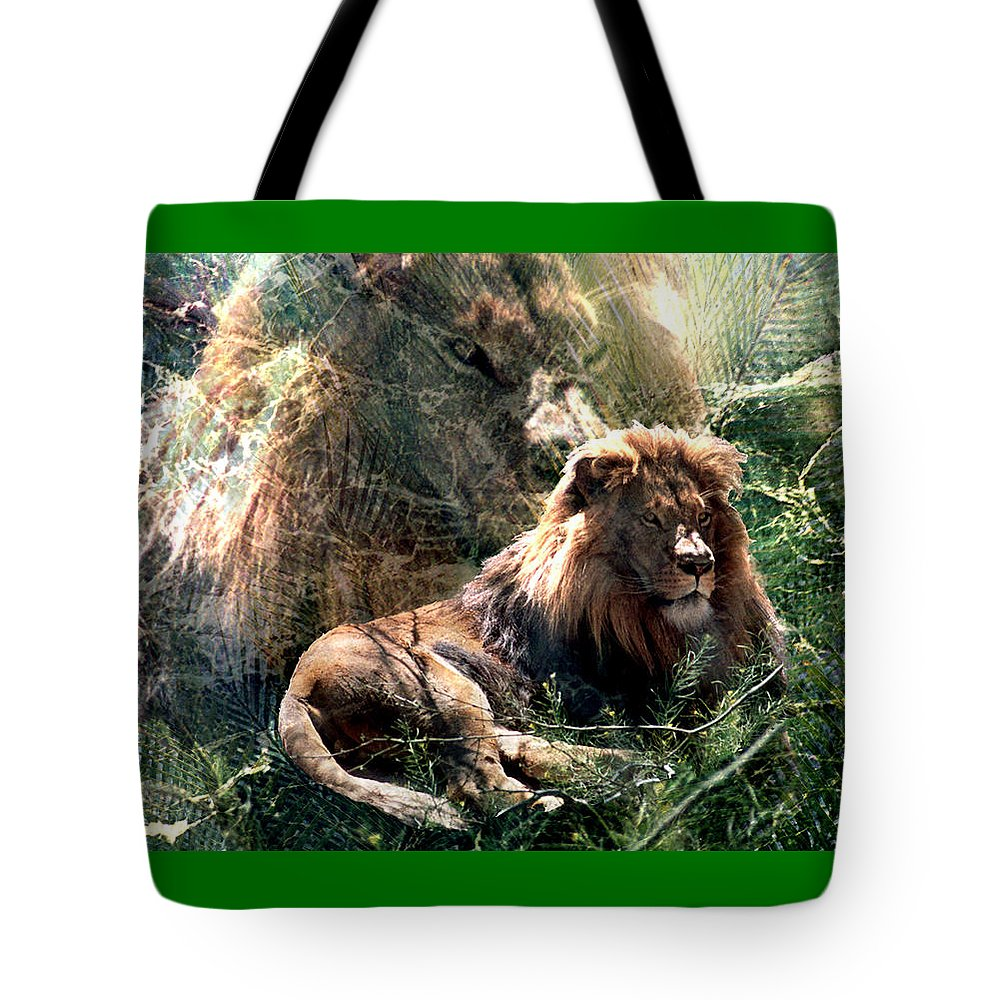 Lion Tote Bag featuring the digital art Lion Spirit by Lisa Yount