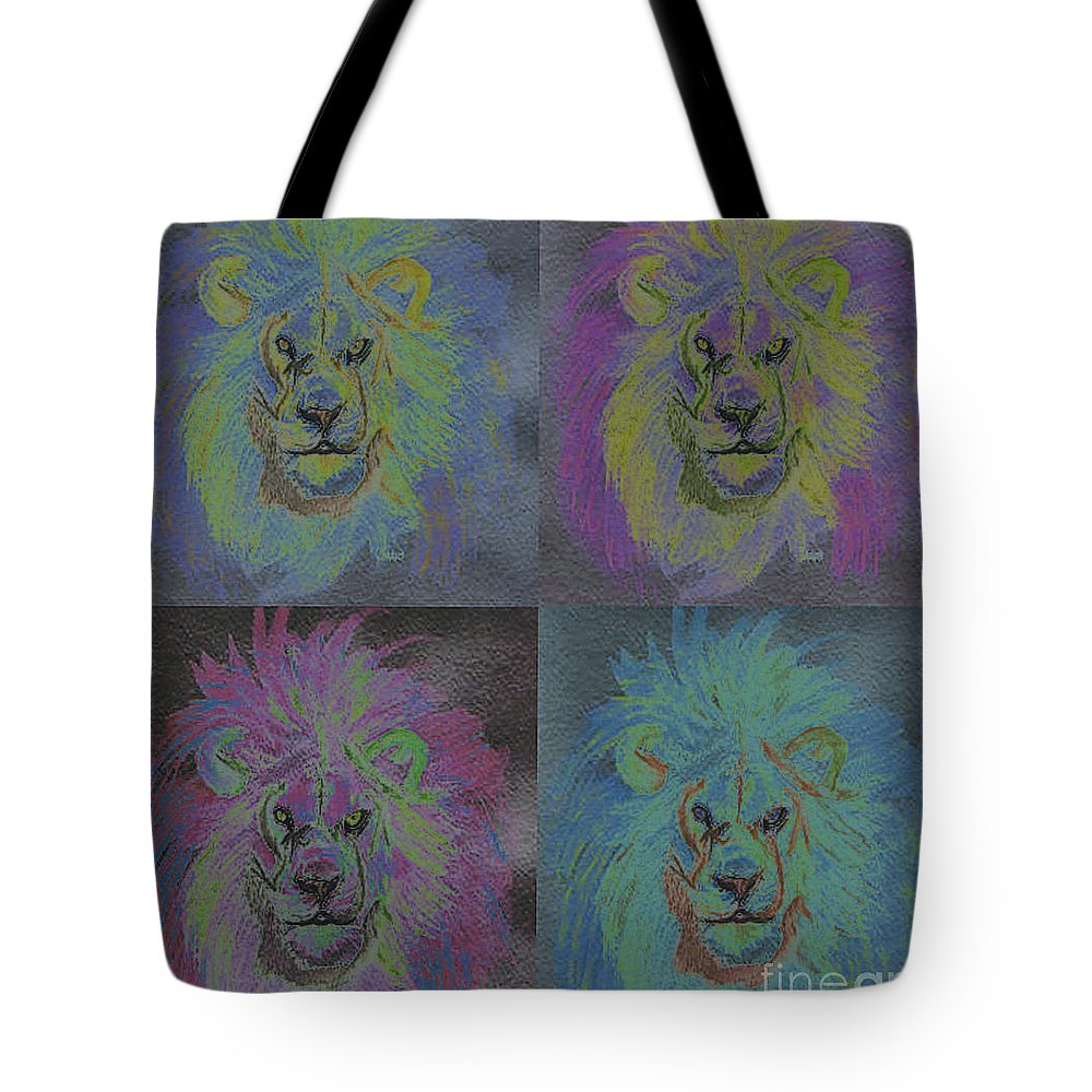 First Star Art Tote Bag featuring the painting Lion X 4 Color By Jrr by First Star Art
