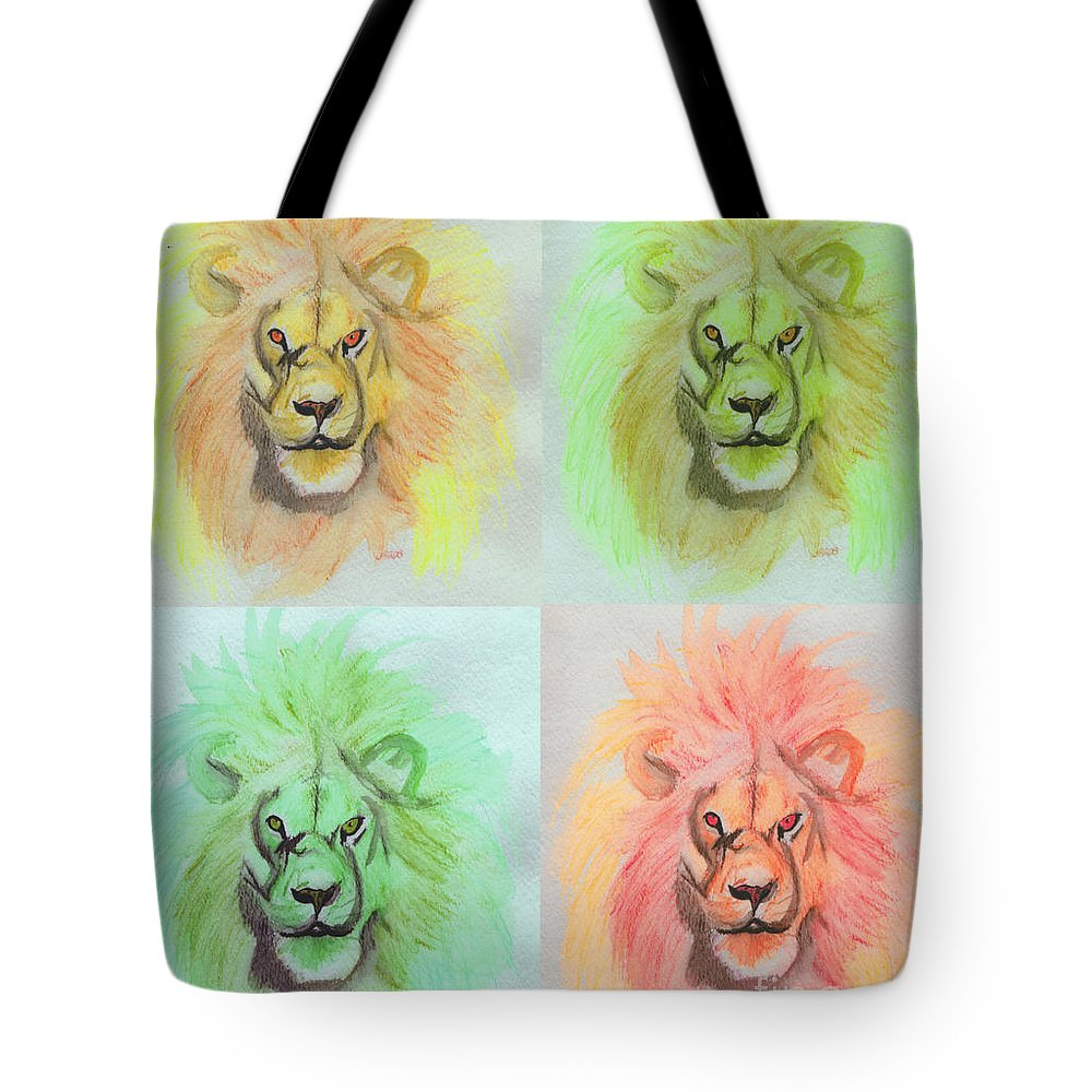 Lion Tote Bag featuring the painting Lion X 4 by First Star Art