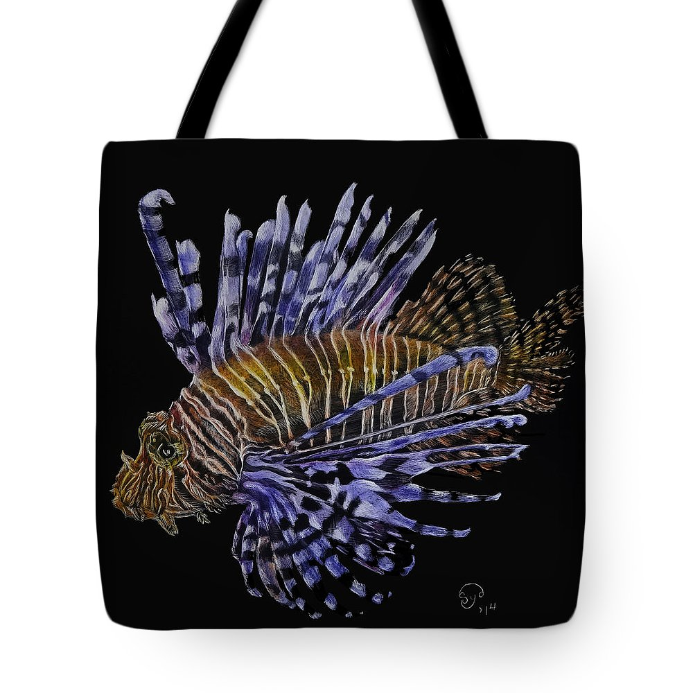 Scratchboard Tote Bag featuring the painting Lionfish 2 by Sydne Spencer