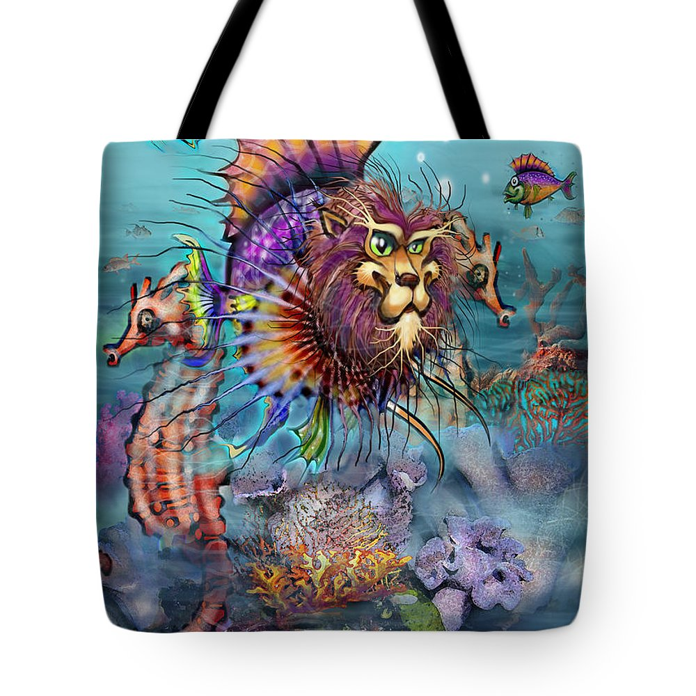 Lionfish Tote Bag featuring the painting Lionfish by Kevin Middleton