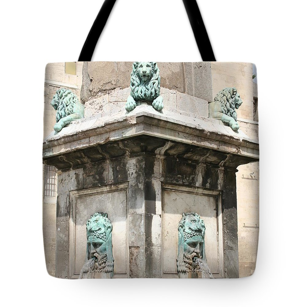 Lion Tote Bag featuring the photograph Lionfountain - Part Of The Obelisk - Arles by Christiane Schulze Art And Photography