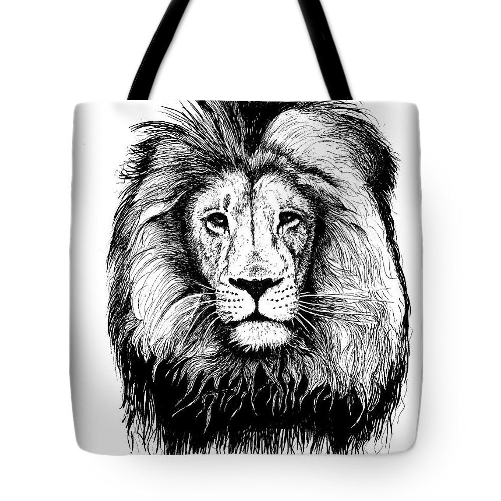 Lion Tote Bag featuring the drawing Lionking by Petra Stephens