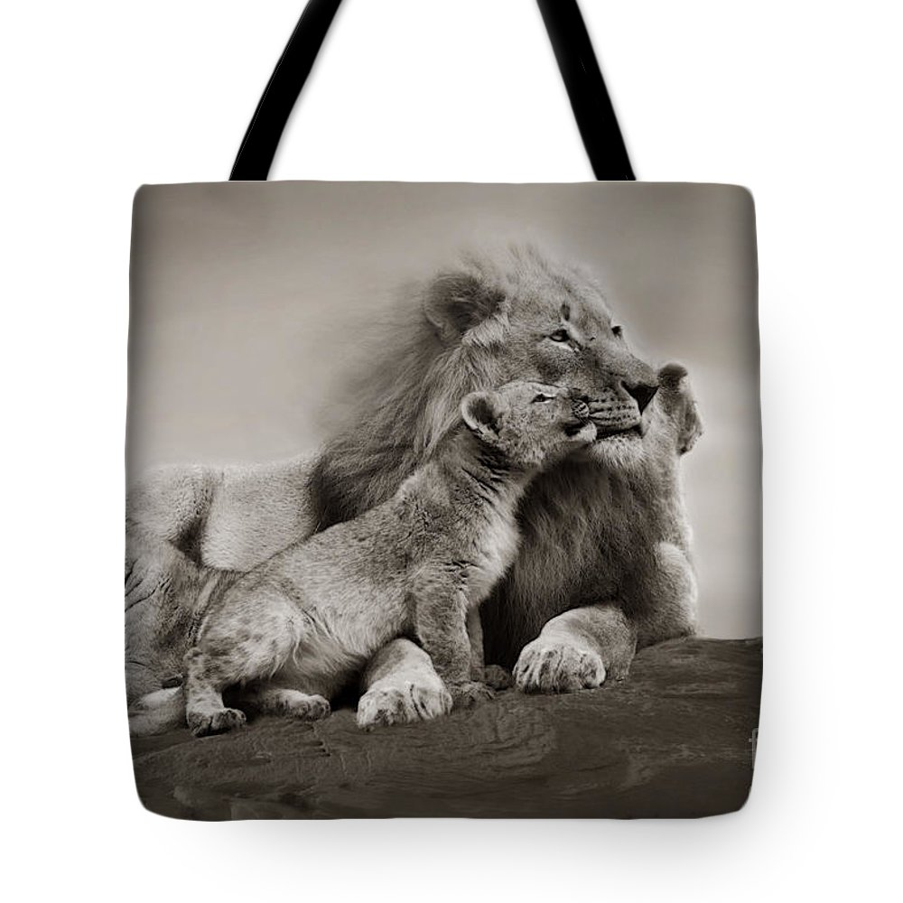Lion Tote Bag featuring the photograph Lions In Freedom by Christine Sponchia