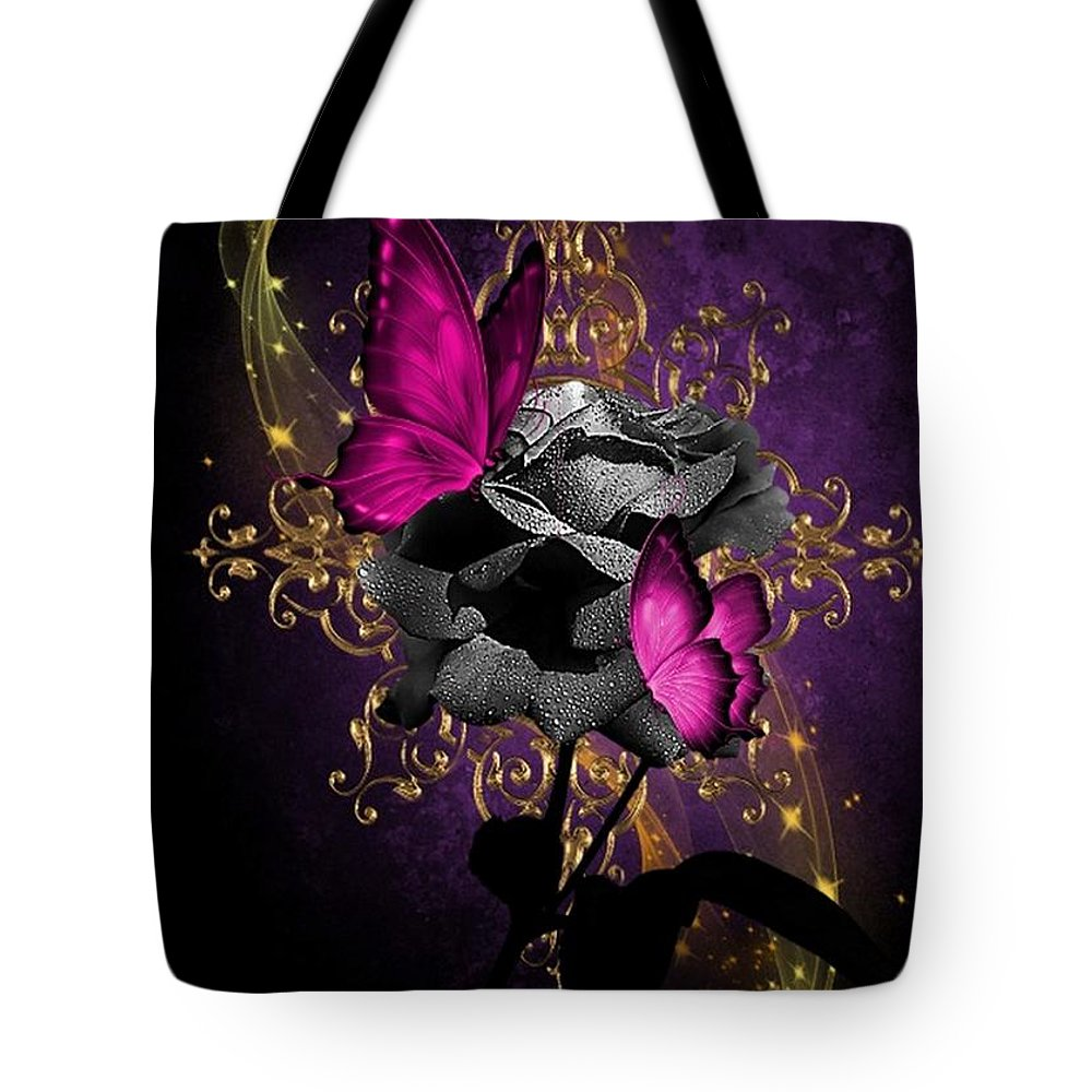 Fantasy Tote Bag featuring the digital art Lipstic Pink Butterflies by Ali Oppy