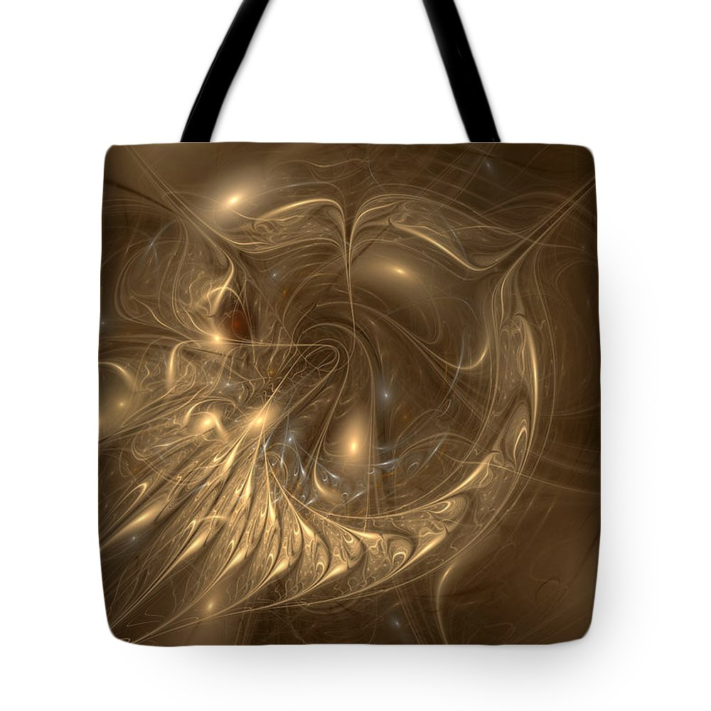 Apophysis 7 Tote Bag featuring the digital art Liquid Gold by Anne Pearson